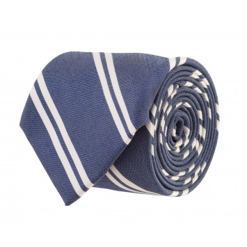 Double Stripe Bar Tie: Navy and White